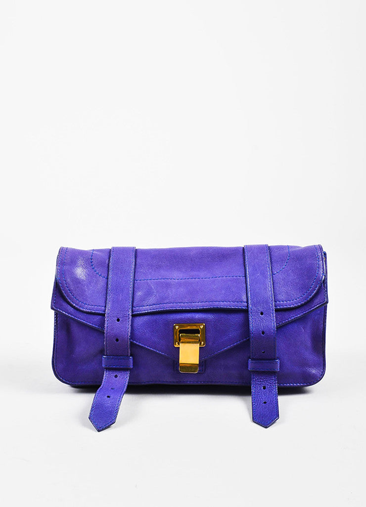 "Proenza Schouler Purple Leather Flap Tab Strap ""PS1 Pochette"" Clutch Bag Frontview"