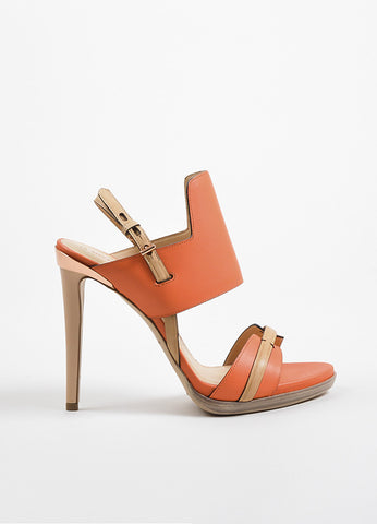 Reed Krakoff Coral Orange and Tan Leather Ankle Strap Sandal Heels Sideview