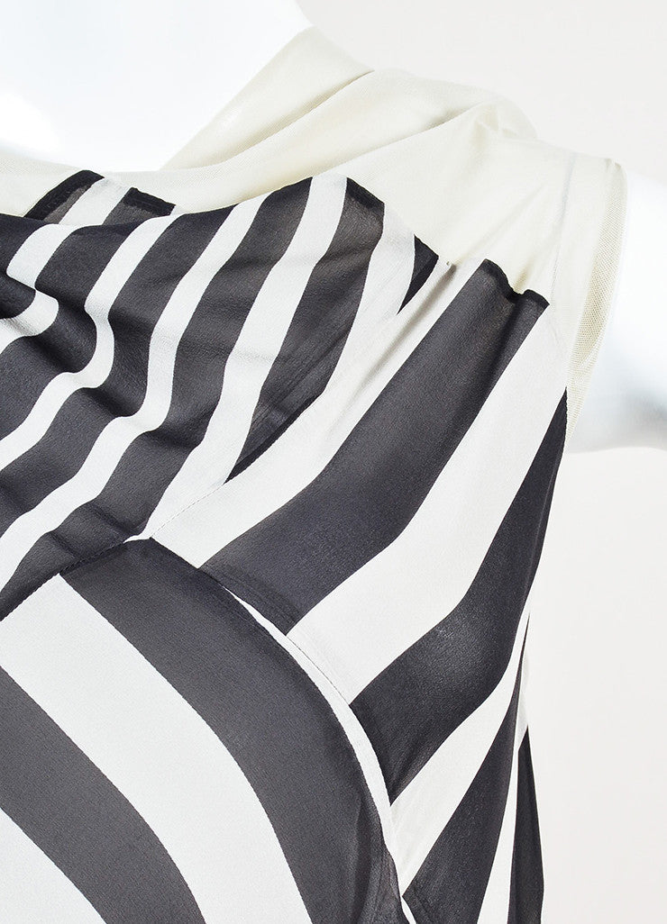 "Rick Owens ""Creatch"" Black and White Mesh Chiffon Multi Striped Draped Dress Detail"