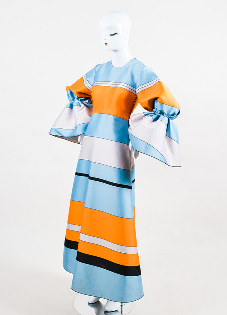 Blue & Orange Roksanda Jacquard Striped Puff Long Sleeve Dress Front