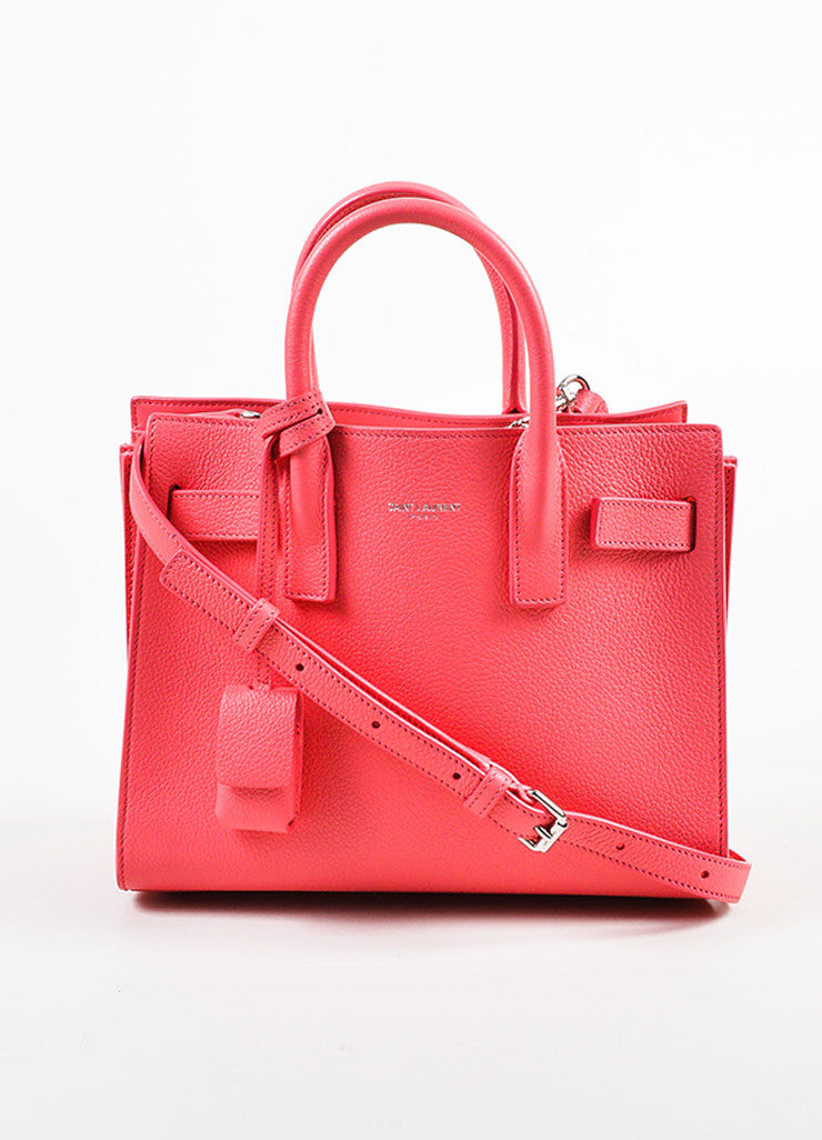 "Saint Laurent Pink Grain Leather ""Nano Sac de Jour"" Bag Front"