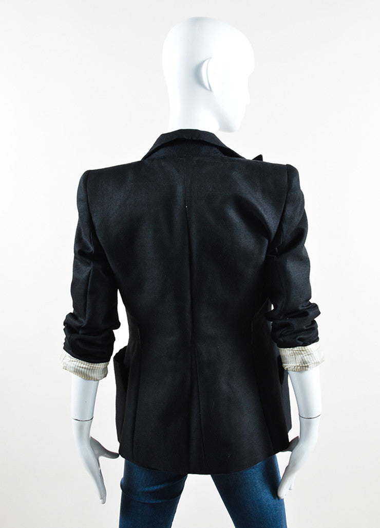 Sportmax Black Wool and Silk Blazer Backview