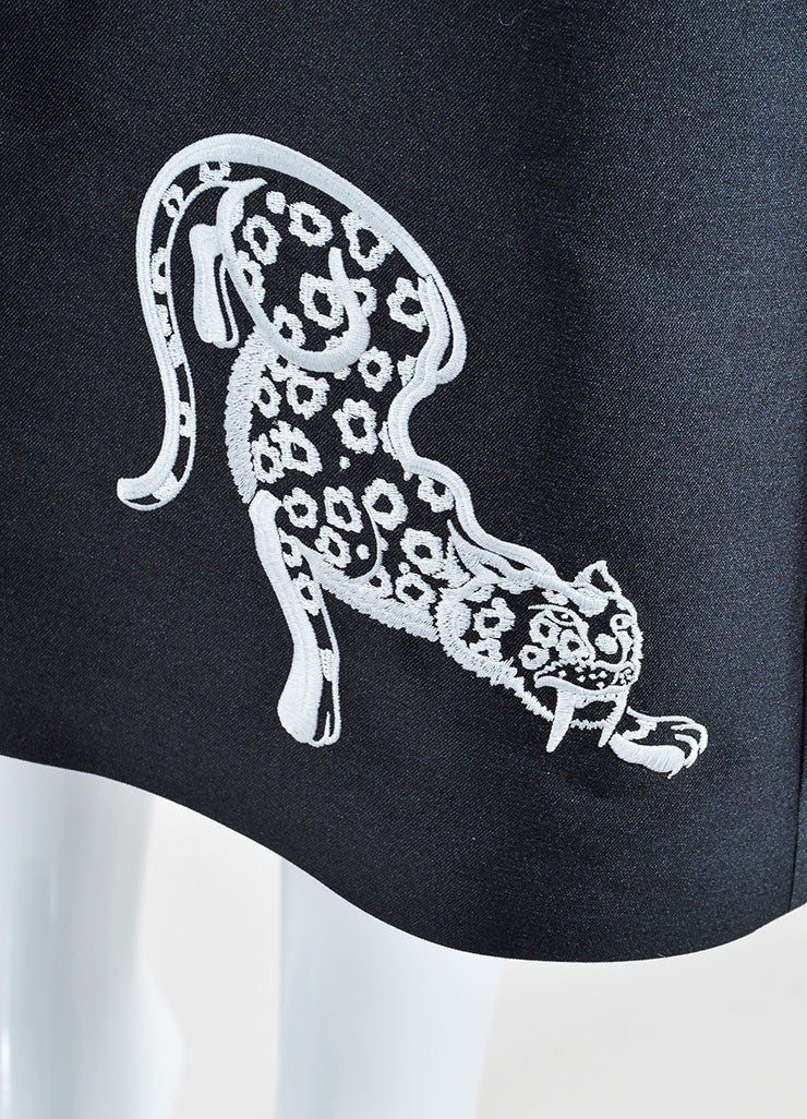 "Black and White Stella McCartney ""Lindsey Wild Cats"" A-Line Skirt Detail"