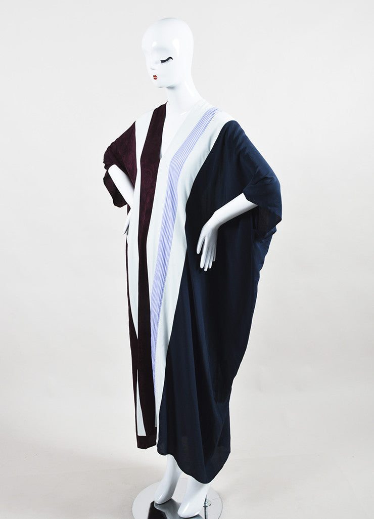 "The Row Maroon, Navy, and White Silk Striped ""Tunip"" Caftan Maxi Dress Sideview"