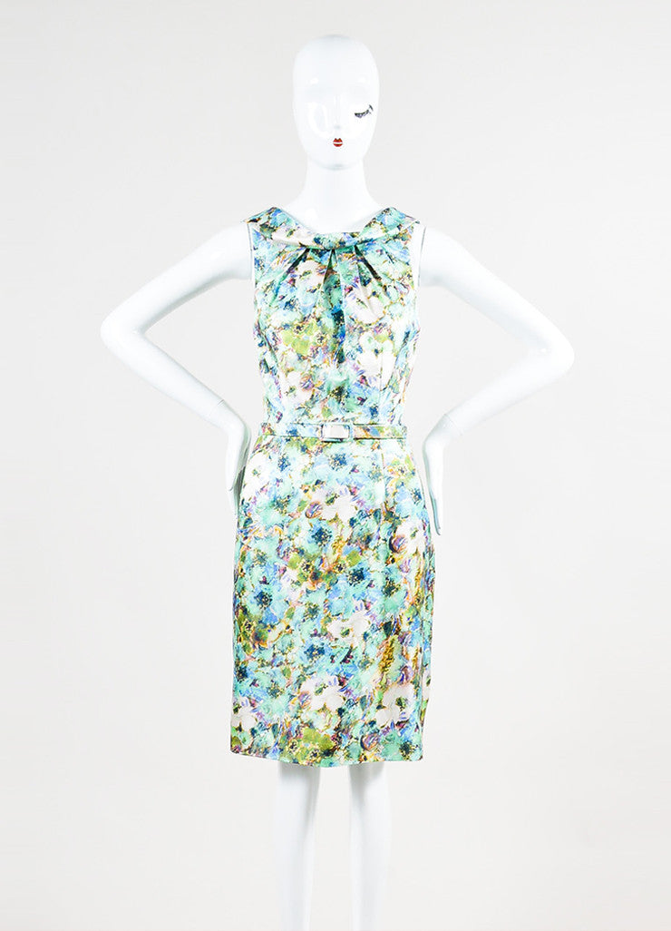 Theia Multicolor Pique Knit Silk Floral Print Belted Sheath Dress Frontview