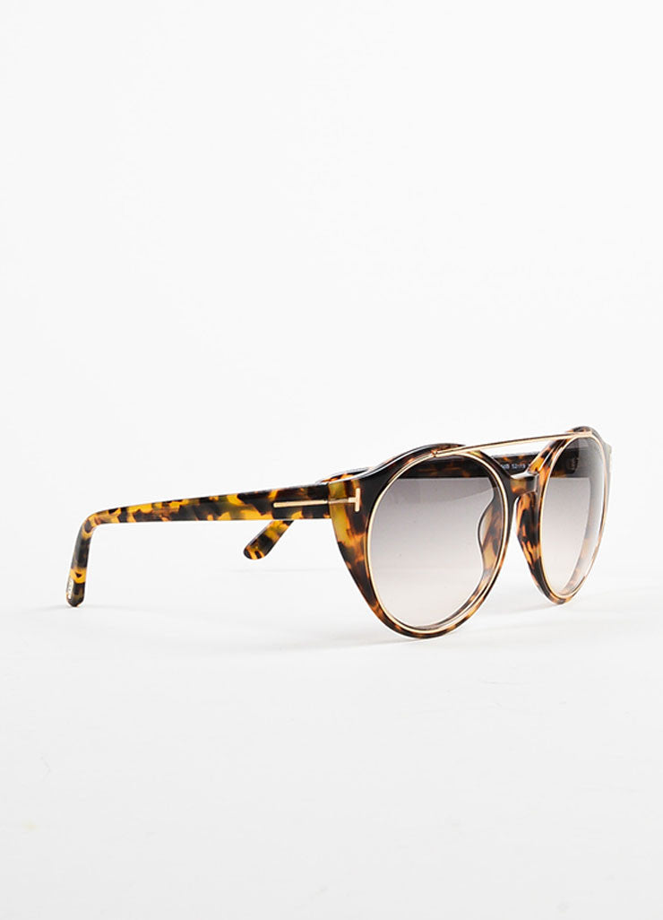 "Tom Ford Brown GHW ""Havana"" Tortoiseshell ""Joan"" Sunglasses Sideview"