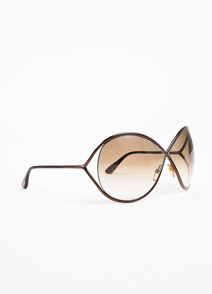 "Tom Ford Bronze Gradient Tint Cross Over ""Lilliana"" Butterfly Sunglasses Sideview"