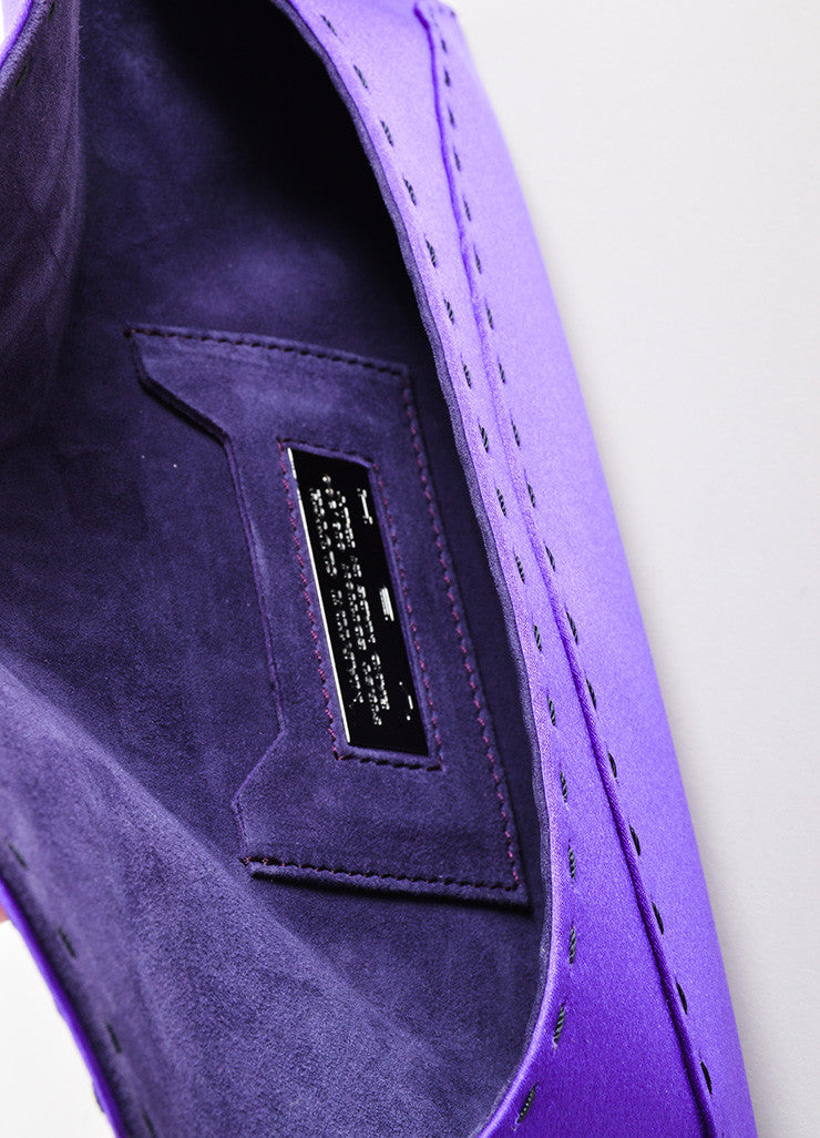 "VBH Purple Satin Stitch Detail ""Martini"" Clutch Bag Interior"