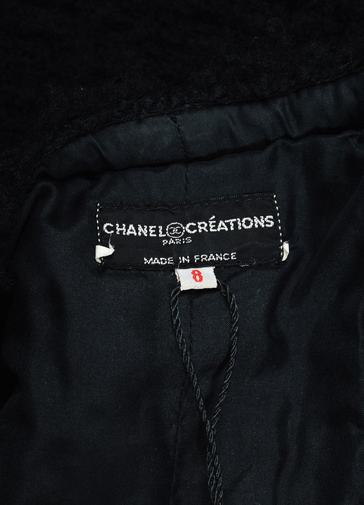 Chanel Black Woolen Tweed Button Up Long Sleeve Blazer Jacket Brand