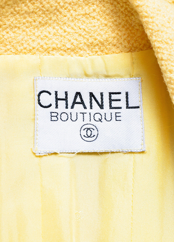 Chanel Yellow and Gold Toned Boucle 'CC' Button Long Jacket Brand