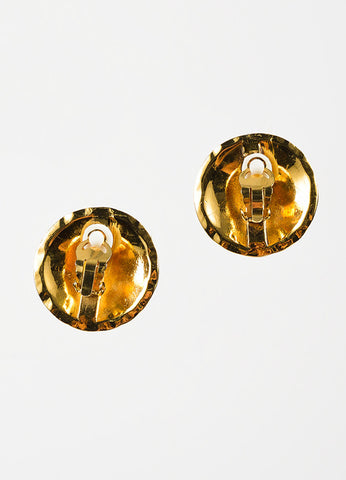 Chanel Gold Toned Metal 'CC' Quilted Round Clip On Earrings Backview