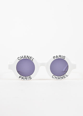 "Chanel White and Black Tinted Lens ""Chanel Paris"" Circle Frame Sunglasses Frontview"