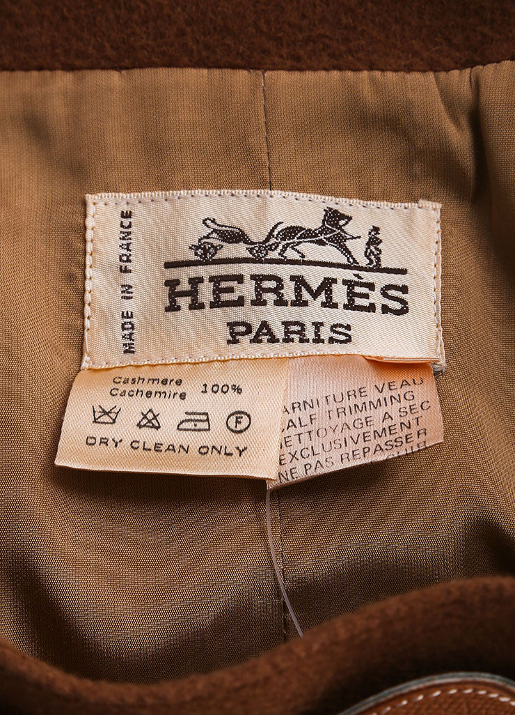 Hermes Brown Cashmere Leather Belted Pencil Skirt Brand