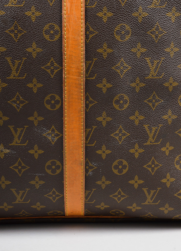 "Louis Vuitton Brown and Tan Canvas and Leather Monogram ""Sirius 60"" Suitcase Detail 4"