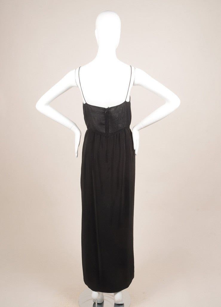 Oscar de la Renta Black Silk Beaded Sheer Sleeveless Dress Backview