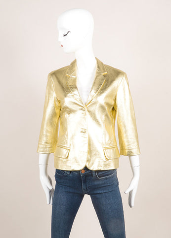 Sharon Roth Gold Leather Metallic Crop Sleeve Blazer Jacket Frontview