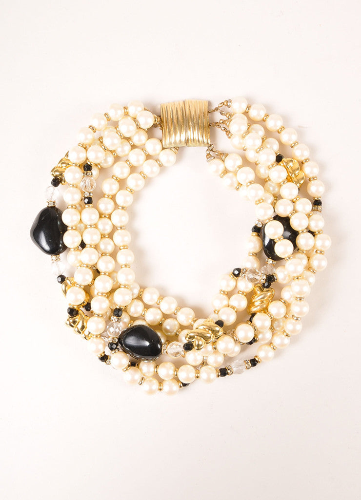 Yves Saint Laurent Black, Cream, and Gold Toned Faux Pearl Bead Multi-Strand Necklace Frontview