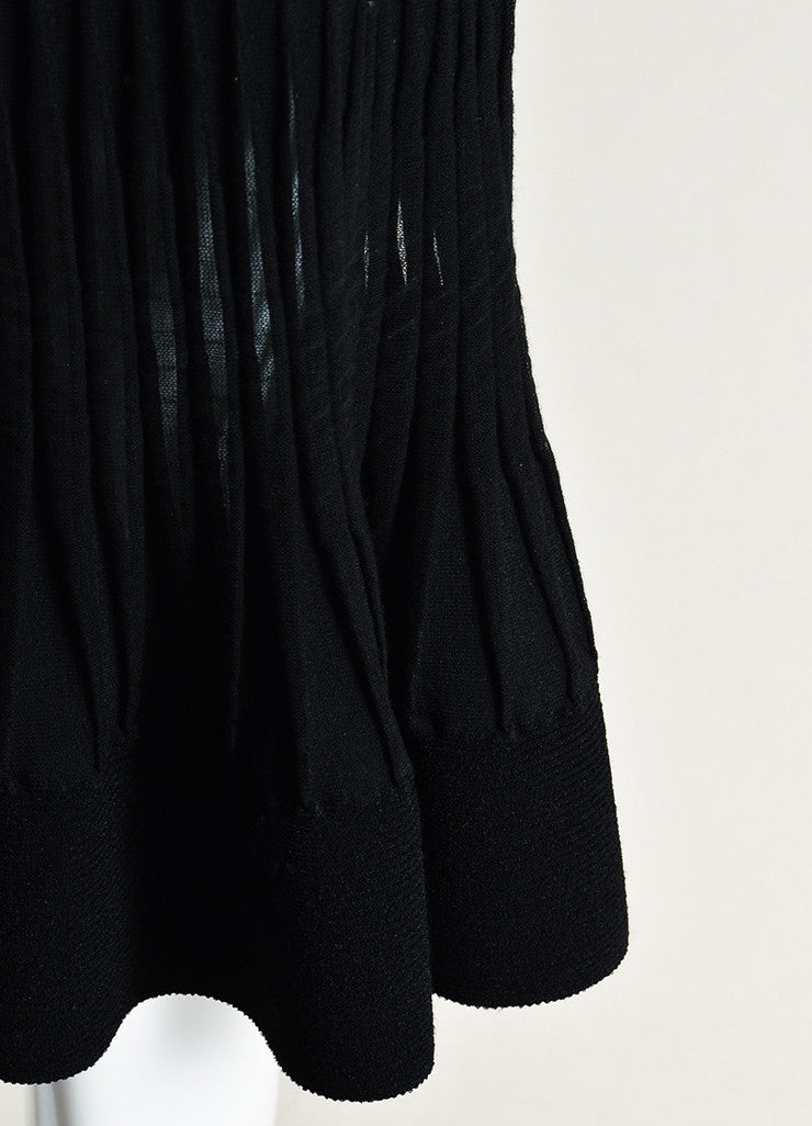 Valentino Black Stretch Knit Mesh Trim Pleated Cap Sleeve Flare Dress Detail