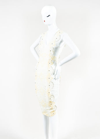 "Veronica Beard Cream and White Eyelet Lace Studded ""Evita"" Dress Sideview"
