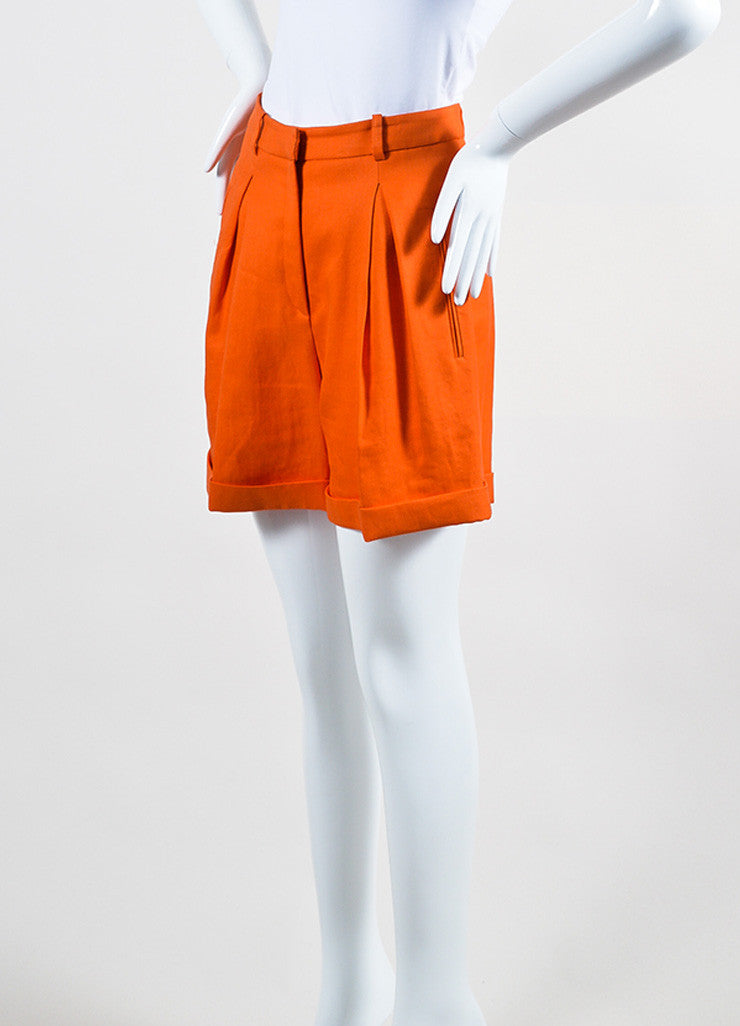 Bright Orange Versace Ramie High Waist Long Cut Cuffed Bermuda Shorts Sideview