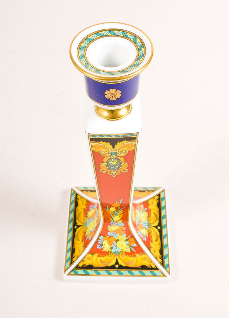 "Versace Rosenthal Multicolor ""Le Roi Soleil"" Candle Stick Sideview"