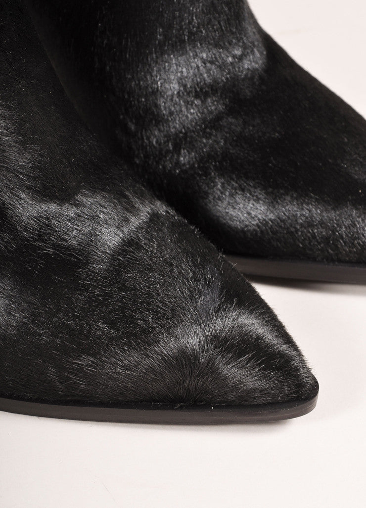 "Vince New In Box Black Leather Pony Hair Pointed Toe Heeled ""Calla"" Booties Detail"