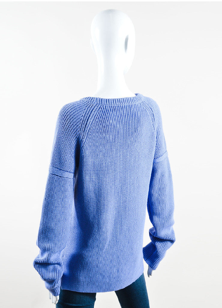 Wes Gordon Periwinkle Blue Cotton Silk Knit Pullover Sweater Backview