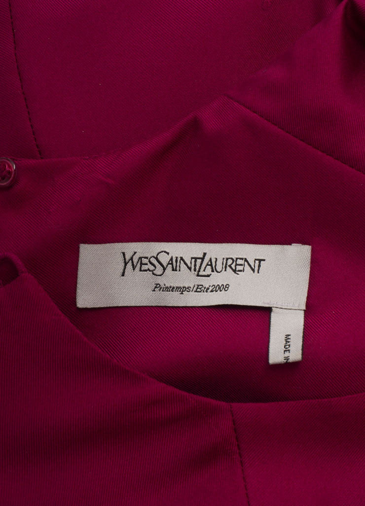 Yves Saint Laurent Magenta Sleeveless Puckered Waist Silk Dress Brand