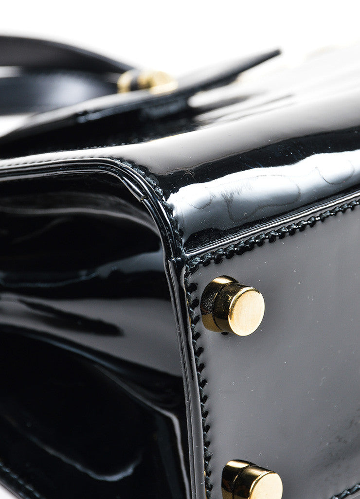 "Black and Gold Toned Yves Saint Laurent Rive Gauche Patent Leather ""Uptown"" Handbag Detail"