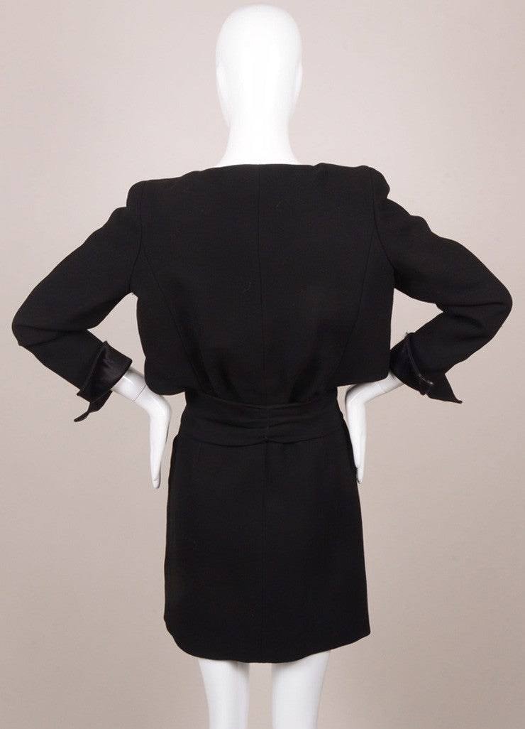 Chanel Black Silk and Wool Zip Front Belted Long Sleeve Dress Backview