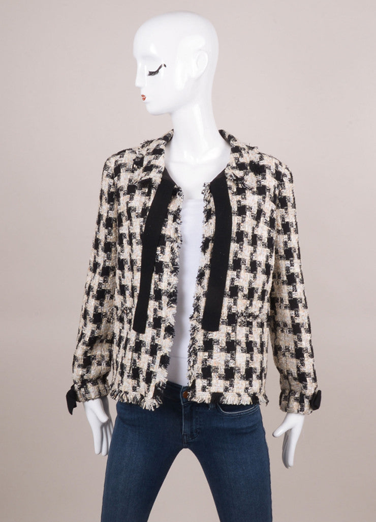 New With Tags Black and White Checker Tweed Jacket