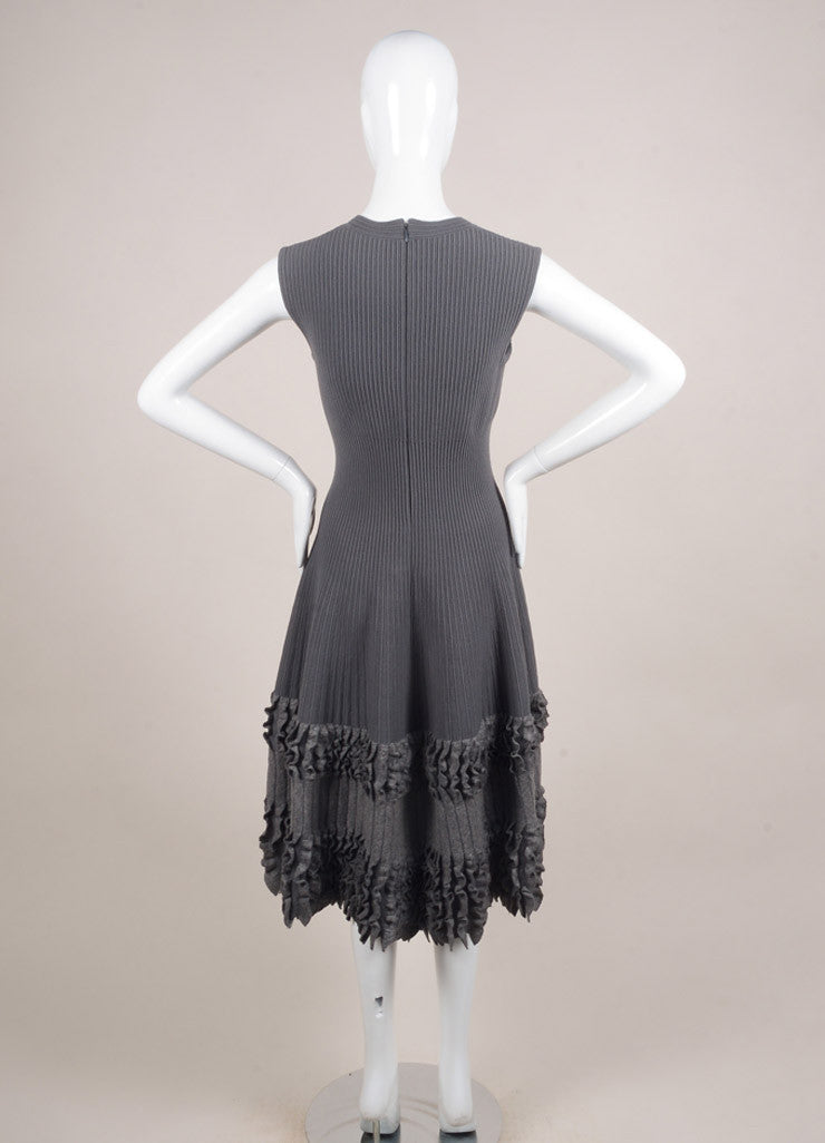Alaia Grey Wool Ribbed Fitted Ruffle Trim Sleeveless Dress Backview
