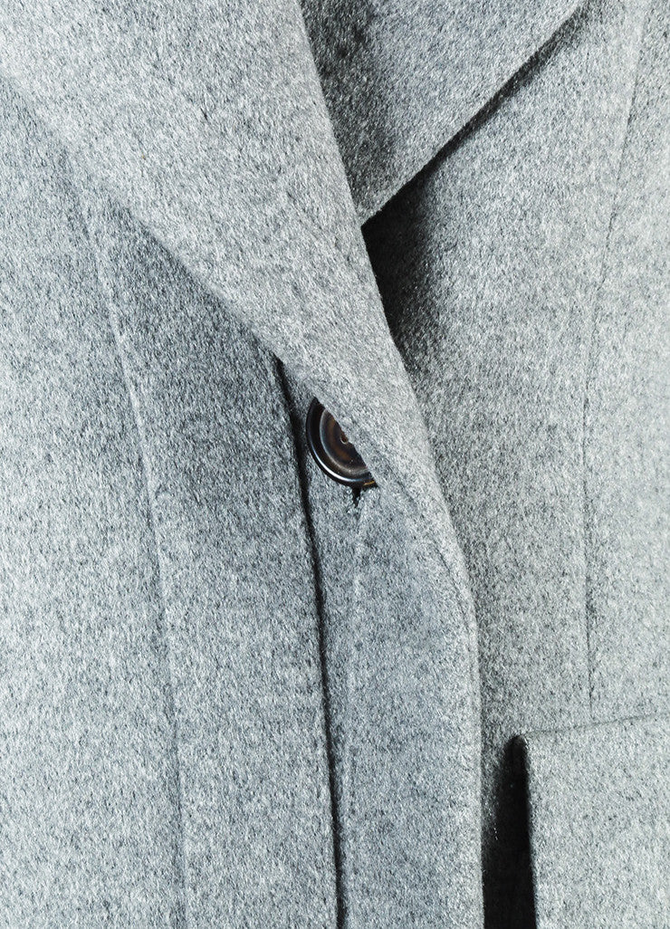 Alexander McQueen Grey Cashmere Double Breasted Pea Coat Jacket Detail