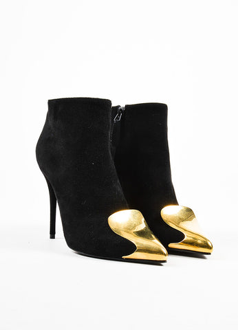Alexander McQueen Black Suede Gold Cap Toe High Heel Booties Frontview