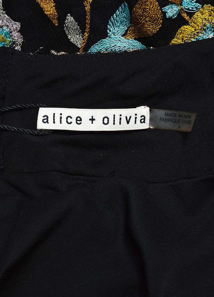 Alice + Olivia Black and Multicolor Mesh Floral Embroidered Tassel Skirt Brand