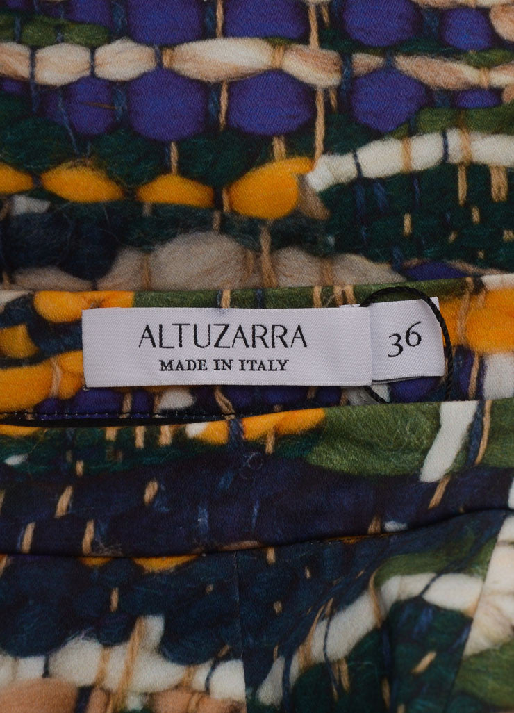 Altuzarra New With Tags Green, Blue, and Yellow Weave Print Pencil Skirt Brand