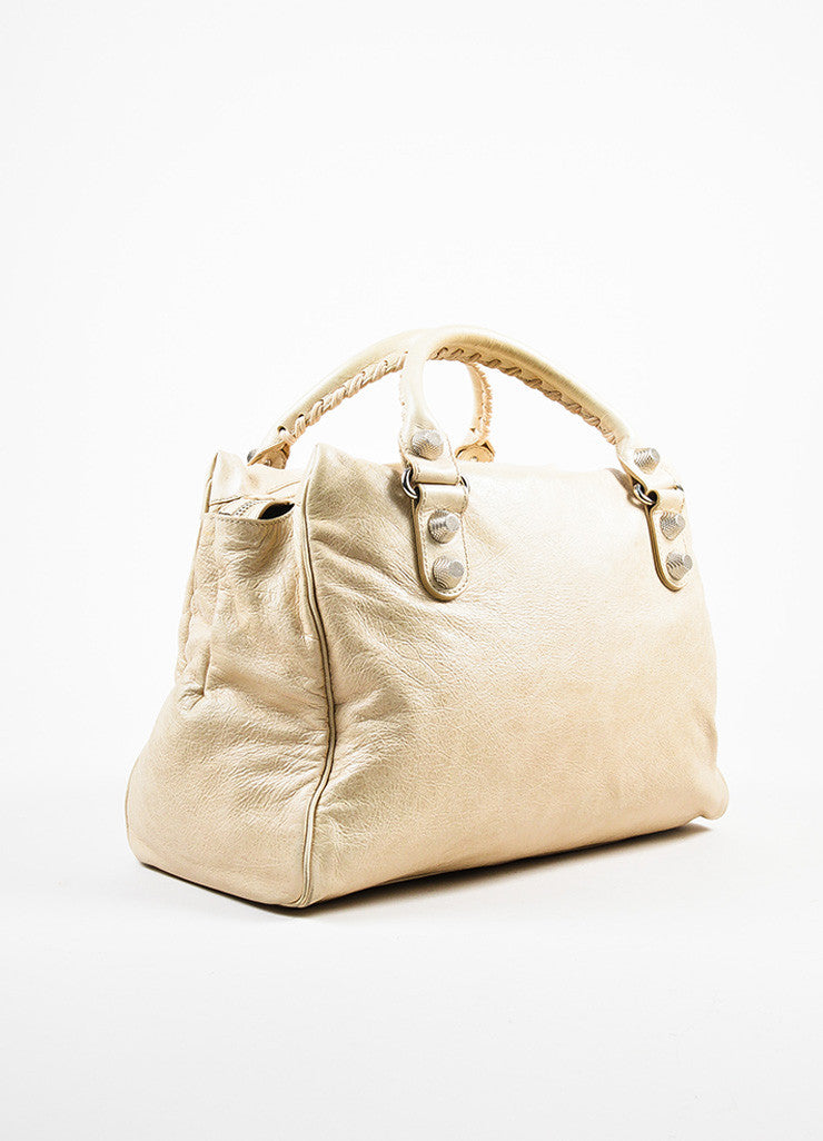 "Balenciaga Beige Distressed Leather ""Giant Midday"" Silver Toned Stud Shoulder Bag Sideview"