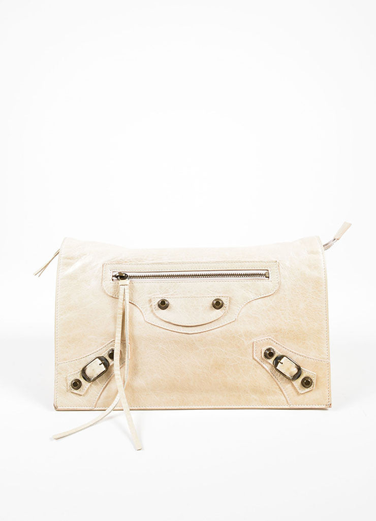 Beige Leather Balenciaga Motocross Clutch Front