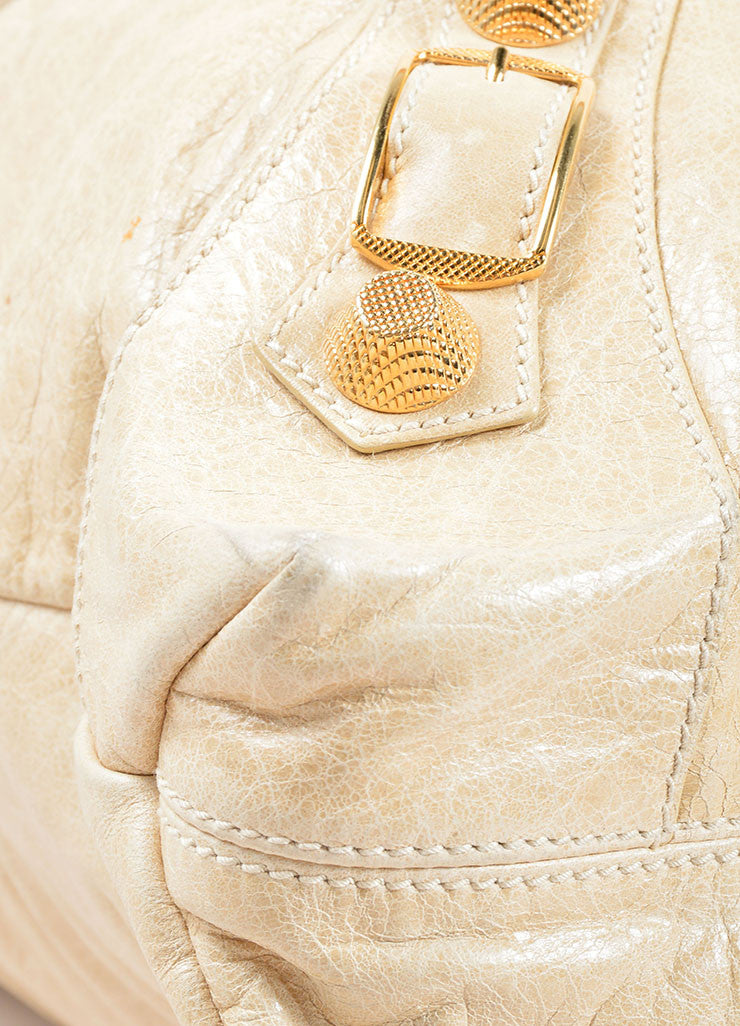 "Balenciaga Cream Leather Gold Toned Studded ""Giant Brief"" Tote Bag Detail"