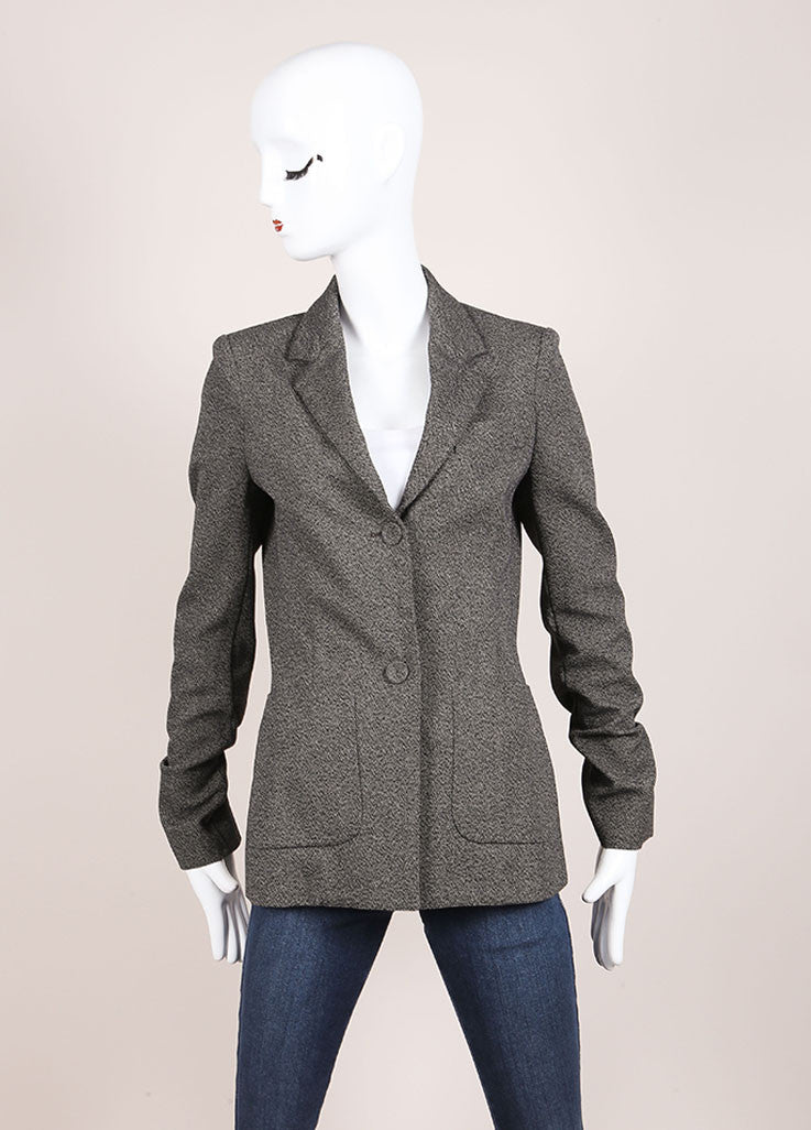 Balenciaga Grey and Black Speckled Stretch Cotton Long Sleeve Buttoned Blazer Frontview