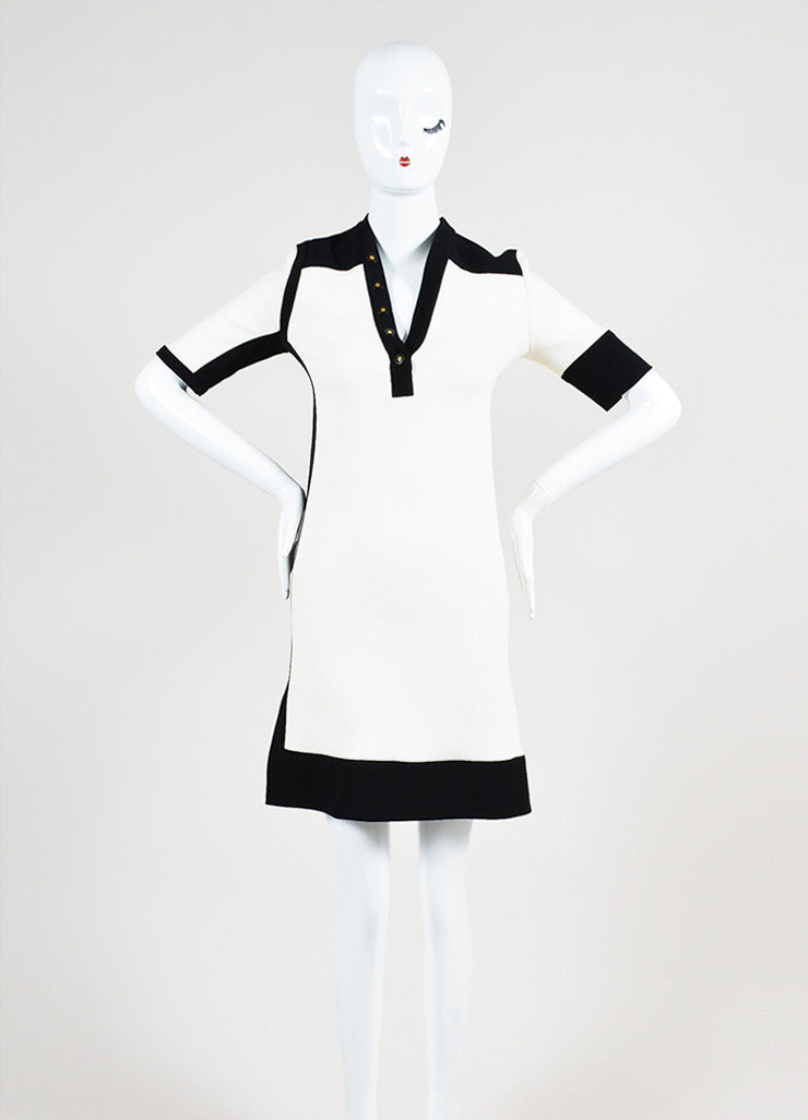 Black and Cream Balenciaga Colorblock Collarless Short Sleeve Sheath Dress Frontview