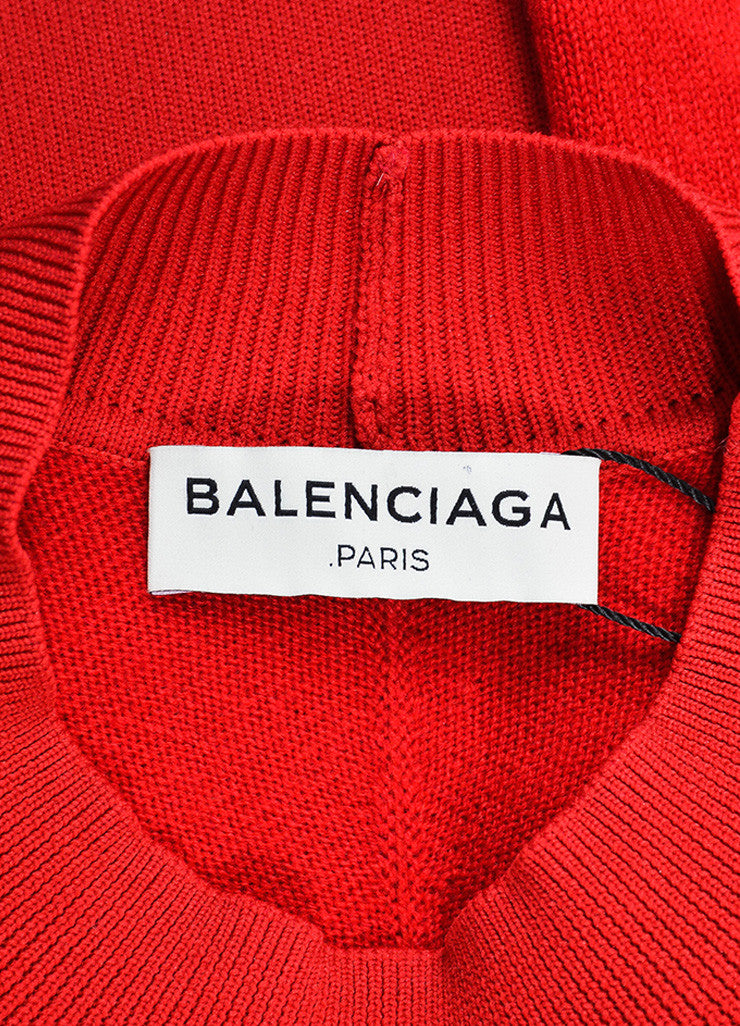 Balenciaga Lipstick Red Cashmere Long Sleeve Sweater Dress Brand