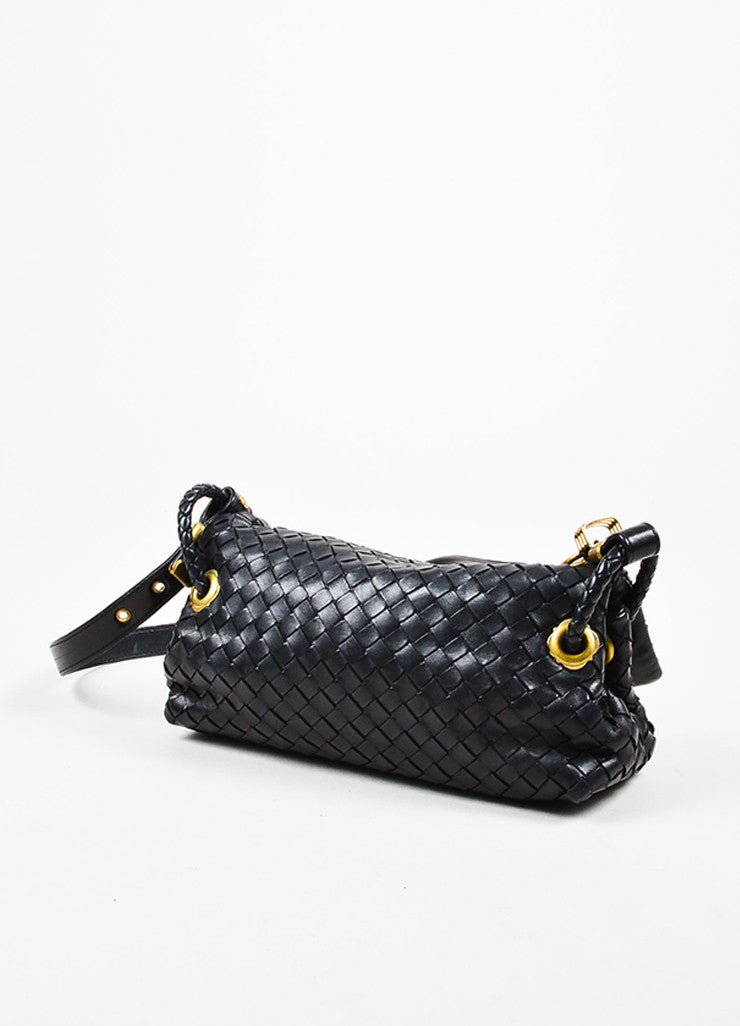 Bottega Veneta Black Woven Leather Flap Shoulder Bag Sideview