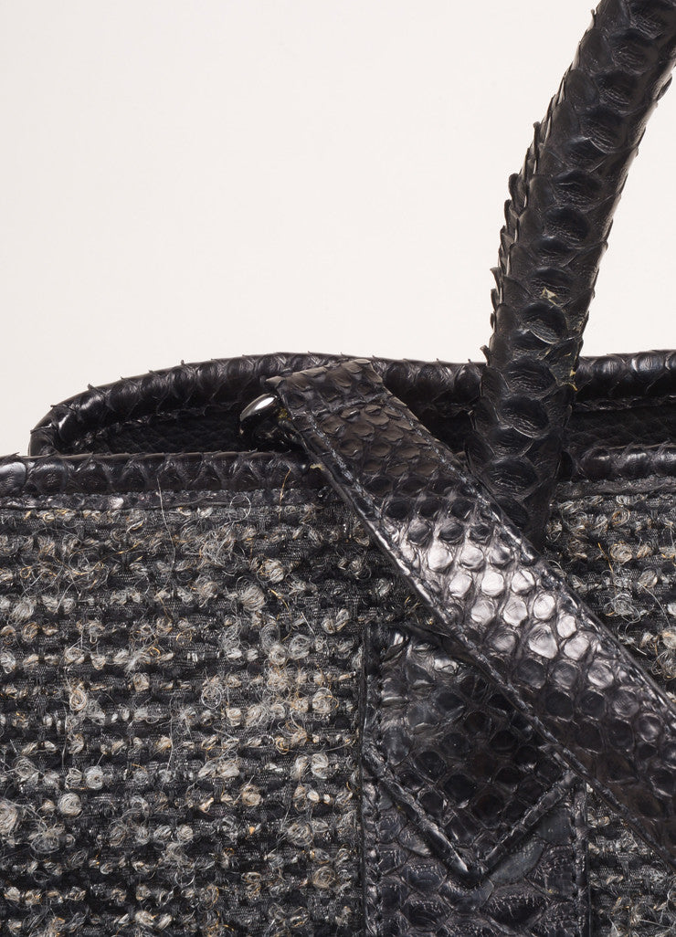 Carlos Falchi Grey and Black Tweed and Snakeskin Leather Large 2 Way Tote Bag Detail 2