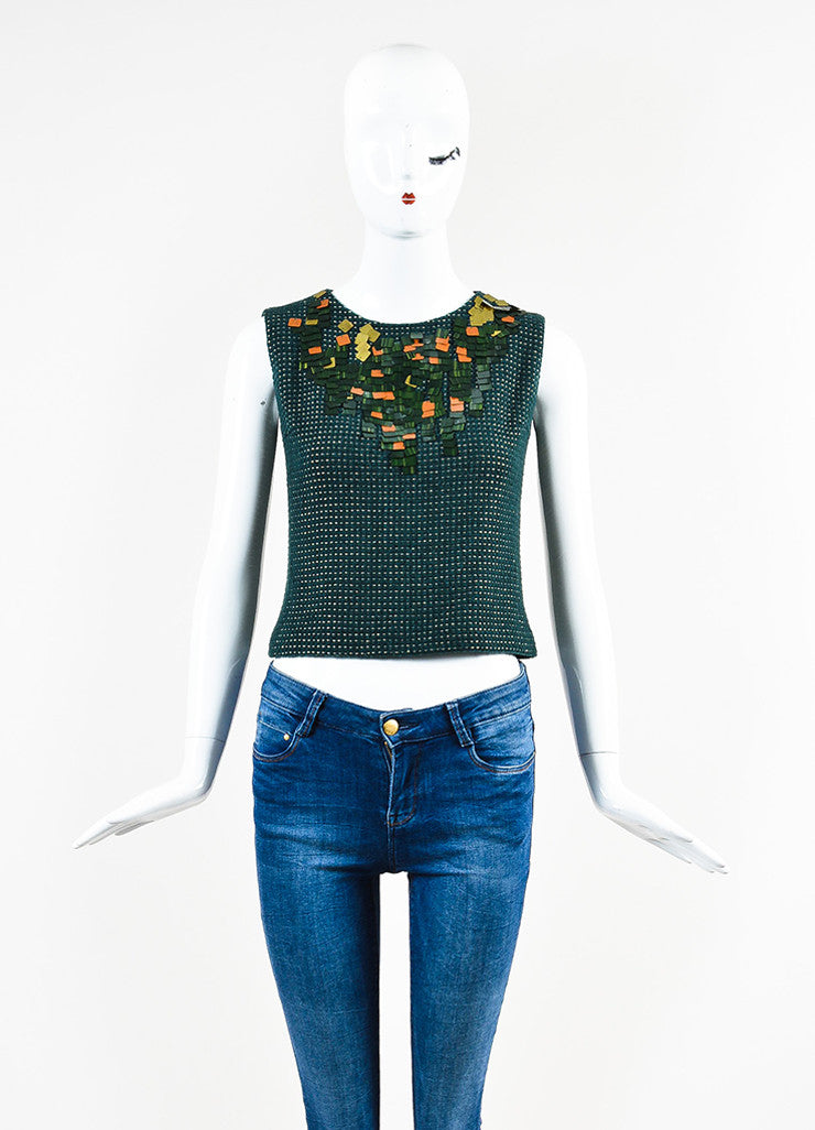 Chanel Hunter Green and Gold Wool Dotted Embellished Sleeveless Shell Top Frontview