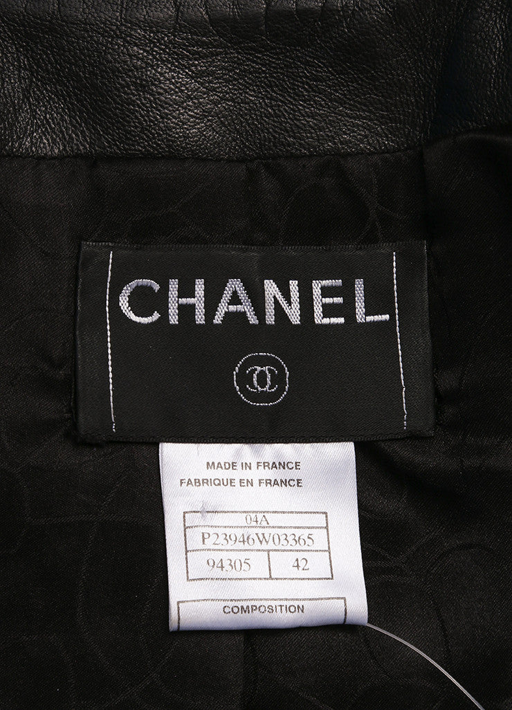 Chanel Black Leather Pintuck Ruffle Ribbon Trim Long Sleeve Jacket Brand