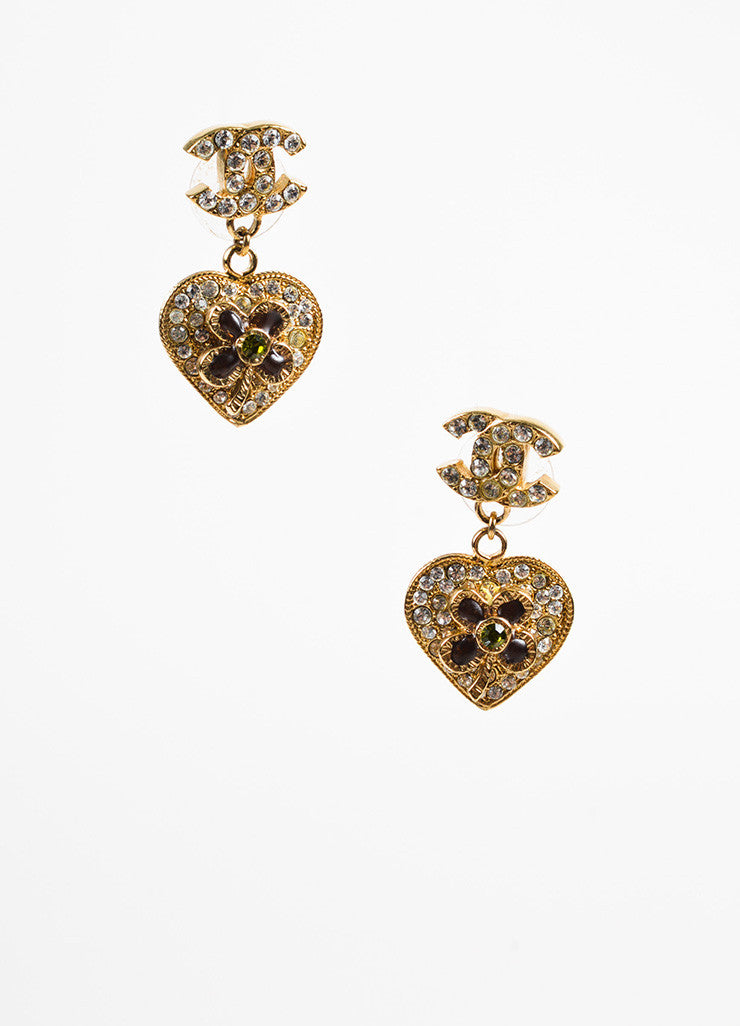 Chanel Gold Toned and Green Crystal and Gripoix Heart & Clover 'CC' Drop Earrings Frontview
