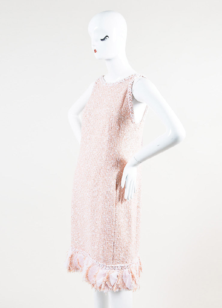 Chanel Peach and White Tweed Cross Strap Strip Ruffled Shift Dress Sideview