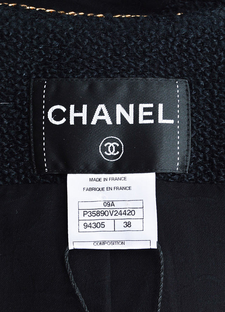 Chanel Black Tweed Gold Toned Chain Faux Pearl Gem Embellished Jacket brand
