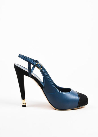 Navy Blue Chanel Leather Silk Cap Toe Slingback Pumps Side